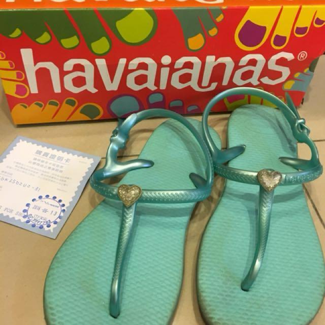 Havaianas 水藍女童夾腳涼鞋31/32