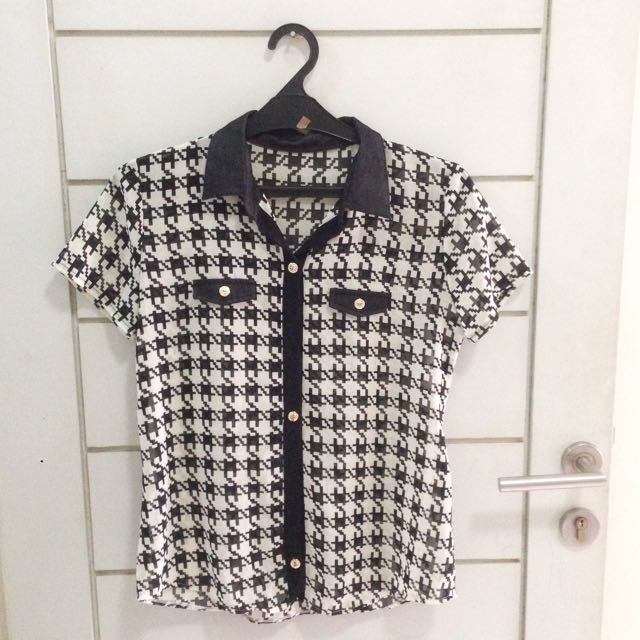 Houndstooth Collar Denim Top Blouse