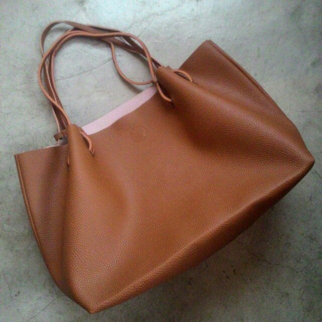 Leather Tote Bag with Envelope pouch