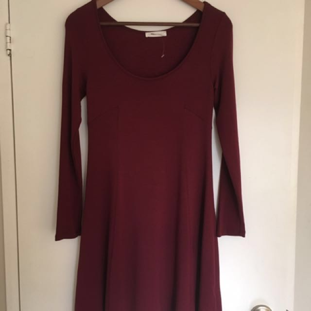 LUSH burgundy jersey dress, size S