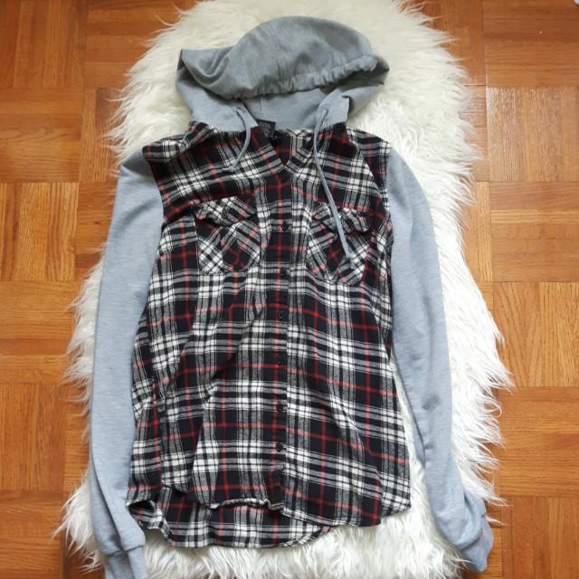 Medium plaid button hoodie