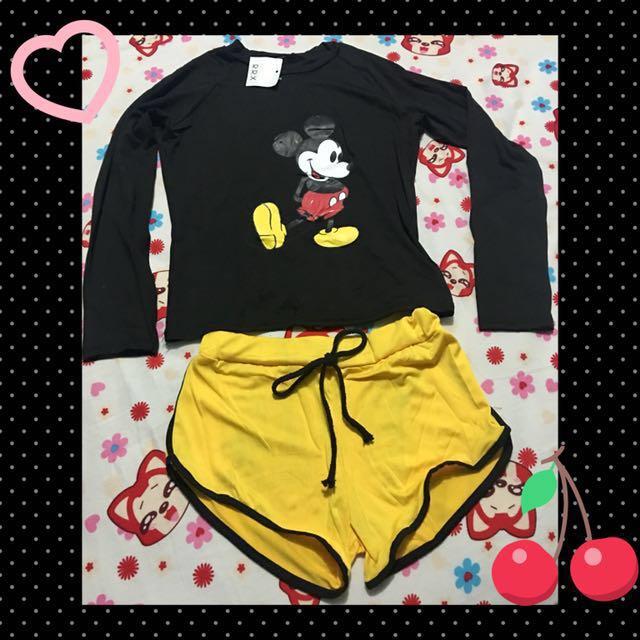 Mickey mouse rash guard set