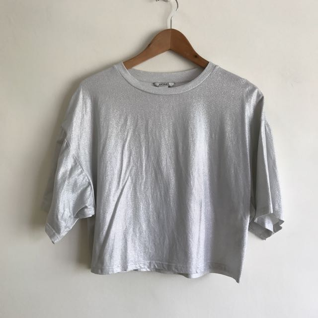 Monki Silver Crop Shirt Top