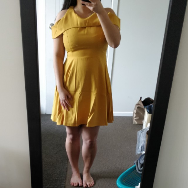 *New* Yellow cold shoulder dress
