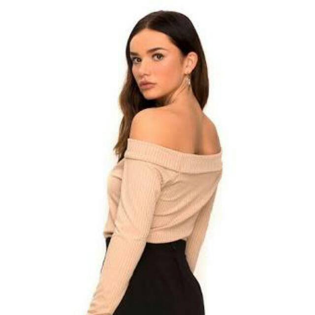 Nude Off Shoulder Top