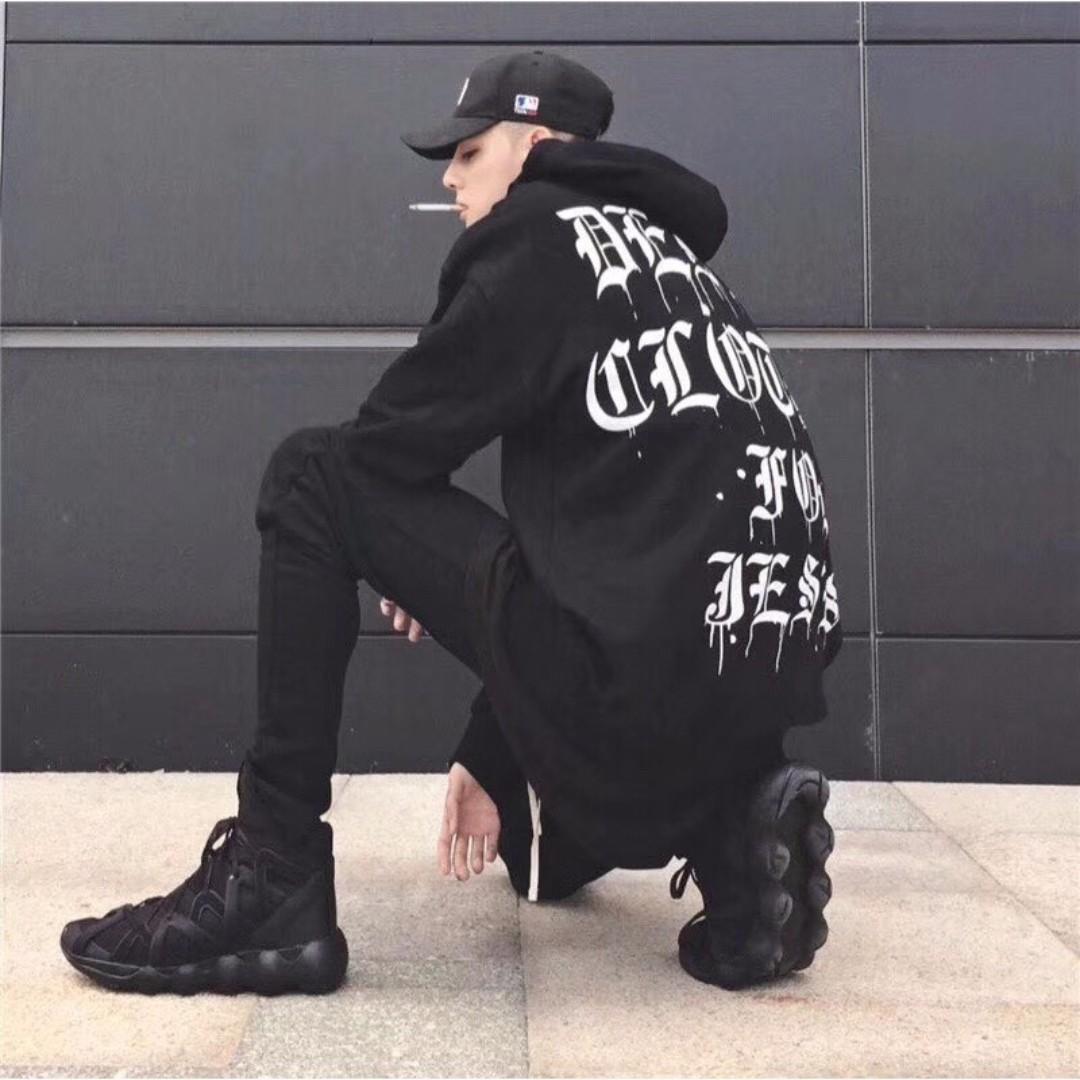 【Oscar】帽T 寬鬆 暗黑 溶解歌德字體 連帽衛衣 潮流 梵文