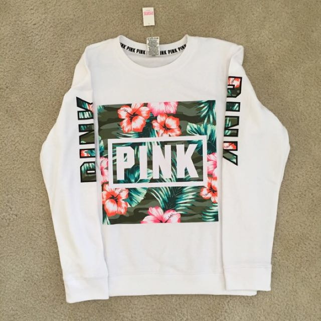 PINK White tropical sweater