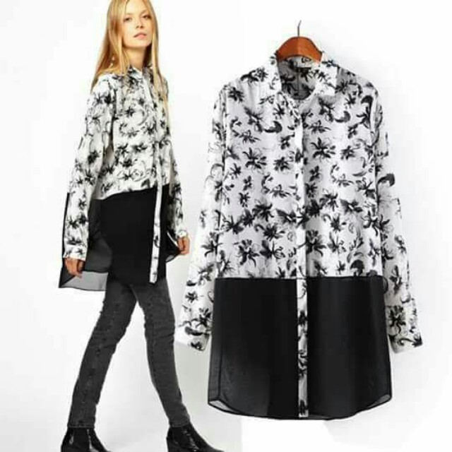 🐬Printed white and black polo blouse/ Mini Dress