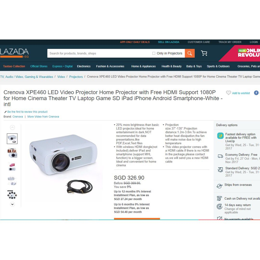 *****Promotion!!! Free Bluetooth Speaker worth SGD$60!!! / Brand New /  Retailing SGD$330 / Crenova XPE460 LED Video Projector Home Projector with  Free