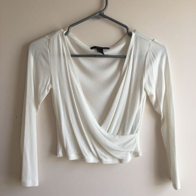 Ribbed White Surplice Top