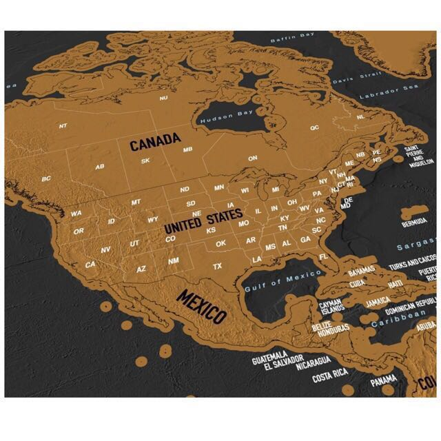 Scratch Map Travel Scratch Off World Map Poster With Us States And - Us-scratch-map
