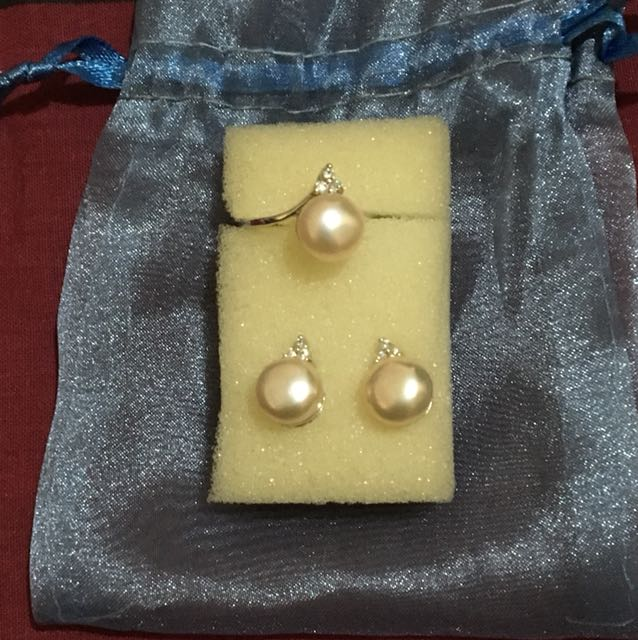 Set of Pearl Earrings and Ring