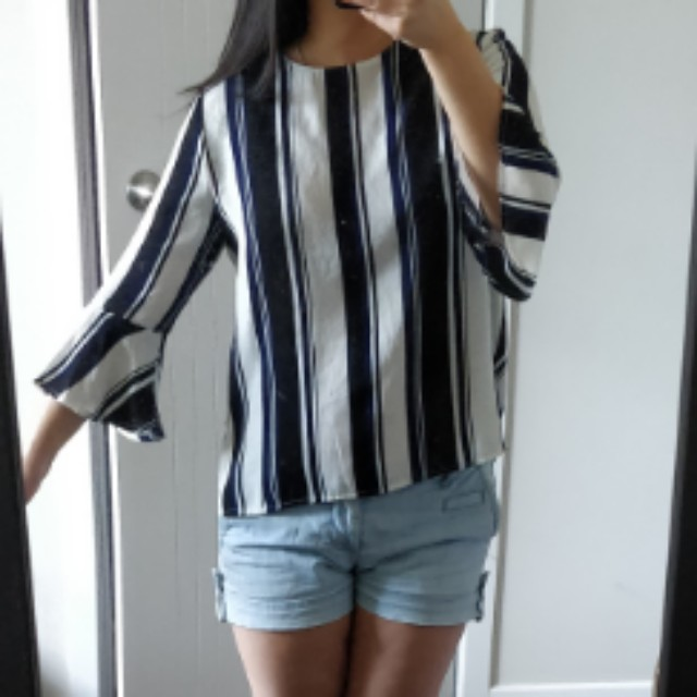 Striped blouse w/ flared sleeves