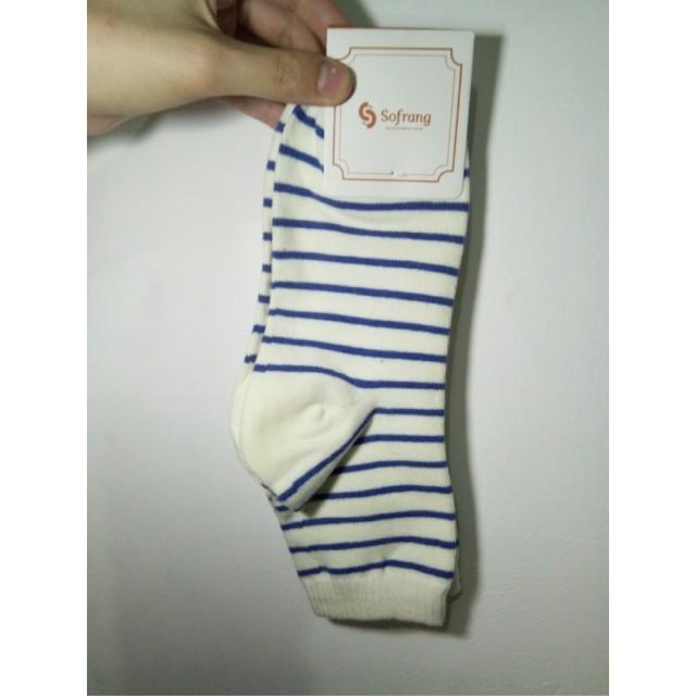 Stripes *blue and white Unisex Korean Socks