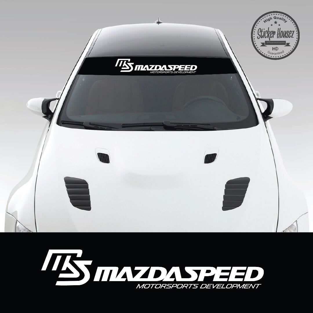 Sunshade windshield sun visor with design for car windscreen vinyl decal sticker mazda speed 1 car accessories on carousell
