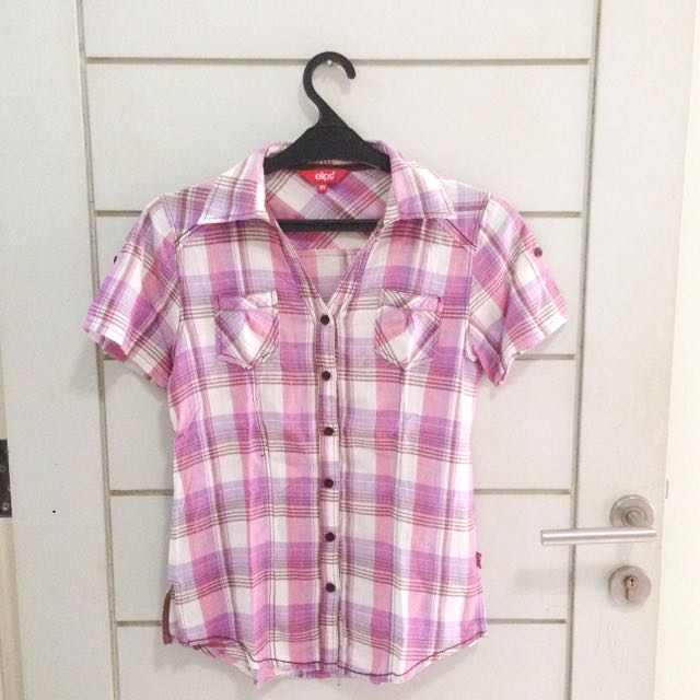 Tartan Flanel Pink Shirt Blouse (Short Sleeve)