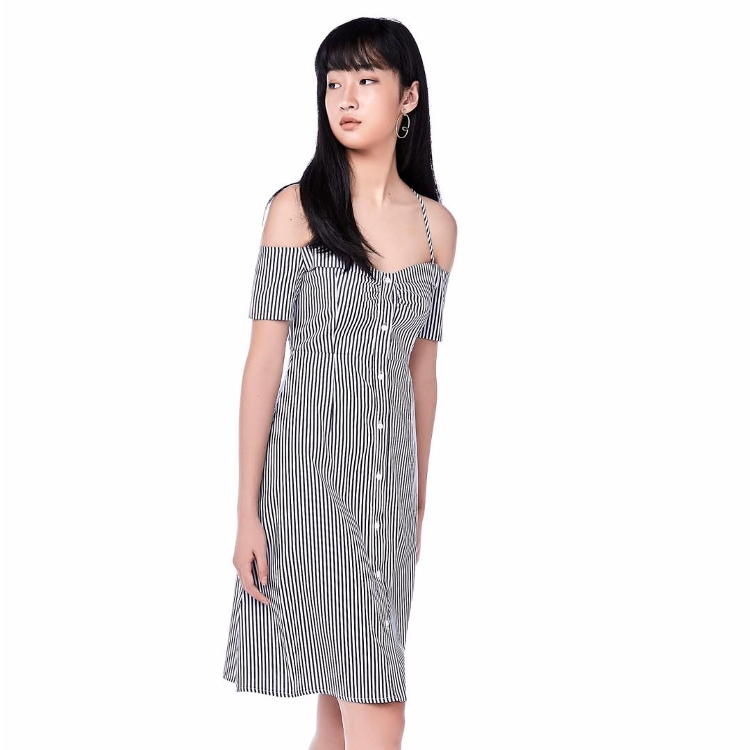 627ac961341227 TEM ALESSIO COLD-SHOULDER STRIPE DRESS in Black Stripes