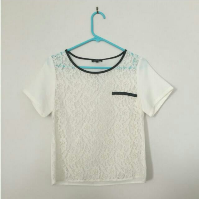 ZALORA Luxe Woven Top With Faux Leather in White and Black