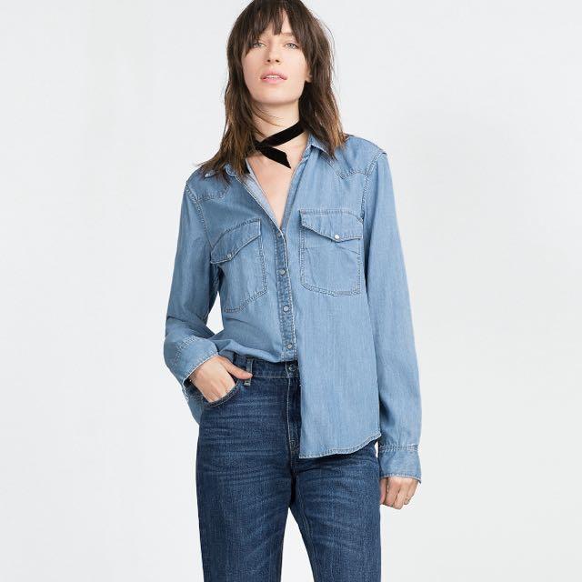 Zara 牛仔襯衫 boyfriend襯衫 denim shirts