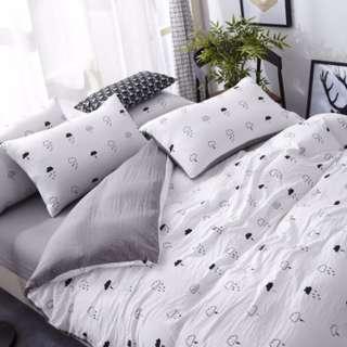 <特優福利>清新有機水洗棉技術良品床包組 雙人 單人