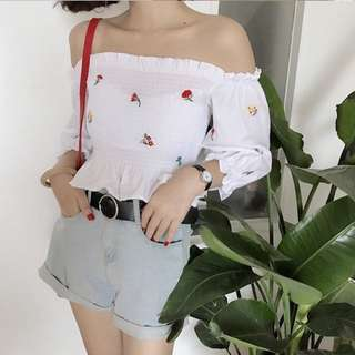CURRENTLY OOS PO: 2 Colours White Navy Blue Flowers Floral Embroidered Embroidery Minimalist Smocked Ariana Off The Cold Shoulder Flutter Frilly Hem Simple Minimalist Peplum Crop Blouse Long Sleeves Top