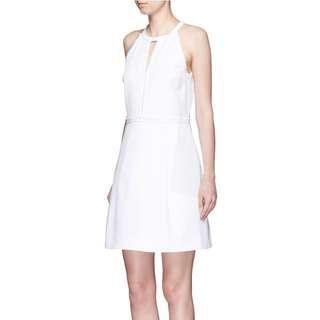 全新❗️Victoria, Victoria Beckham Women's White Frayed Trim Cotton Piqué Dress