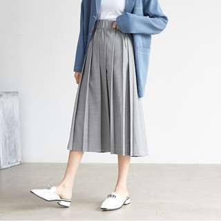 Grey Pleat Skirt