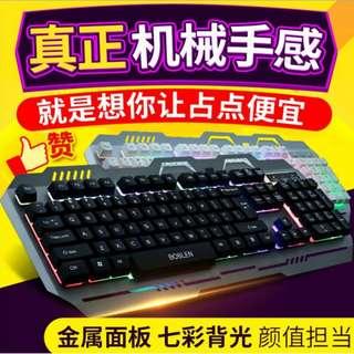 【#幫你省運費】新款 電腦有線<金屬>機械手感懸浮 <電競> 發光鍵盤 (USB)