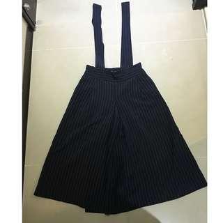 BERSHKA 深藍色白紋 吊帶褲裙 含運費