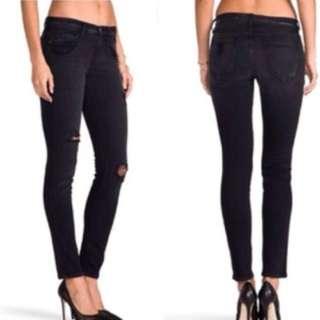 CURRENT ELLIOTT black destroyed ripped skinny jeans 24 25