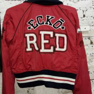 red crop bomber jacket by ECKORED ORIGINAL