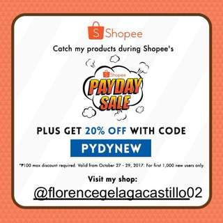 20% OFF WHEN YOU SHOP ON SHOPEE