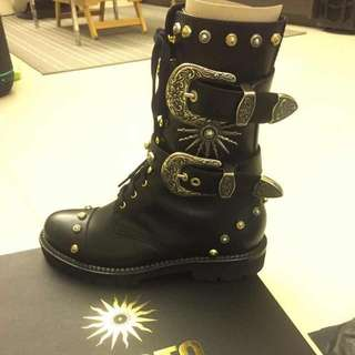 99%NEW❗️FAUSTO PUGLISI🌞Studded Leather Combat Boots 38