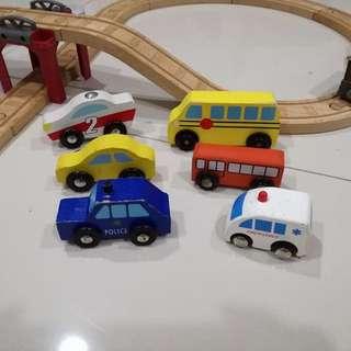 learning wooden train set