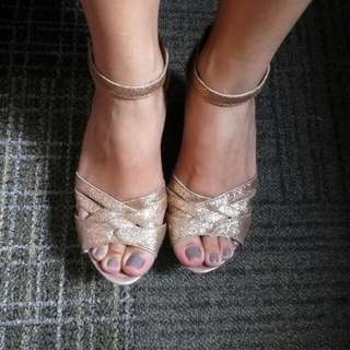 Gold Sandals High Heels Strap On Party