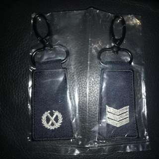 "MINI RANK KEYCHAIN TAG : POLICE - ""DAC"", ""SGT"""