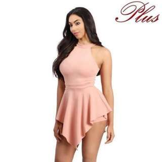 Plus Size Sexy Blush Pink Romper #greatdeal
