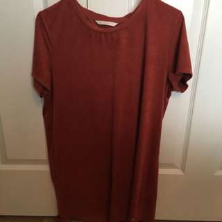 Suede T-shirt dress