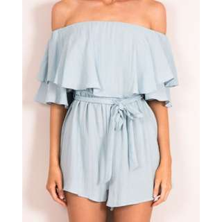 Blue Off The Shoulder Playsuit