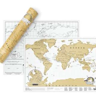 SHIPPING INCLUDED Fantastic Scratch It World Map