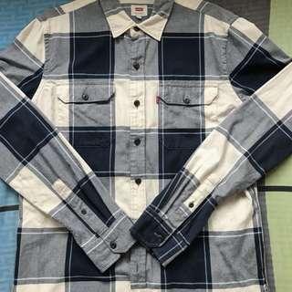 Levi's 襯衫 藍色格紋M號