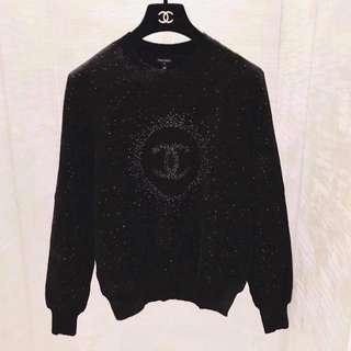 Chanel 黑色星空CC LOGO 針織衫 34 size