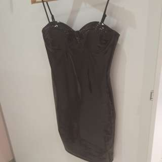 Pu look bodycon dress