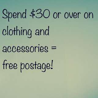 Free post on $30 or more!