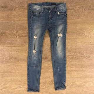 韓版 窄版顯瘦牛窄褲