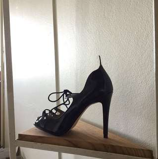 New Zara navy patent lace up pumps size 36