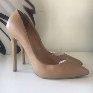 Tony Bianco Leola Heels Size 8 Nude Capretto Leather