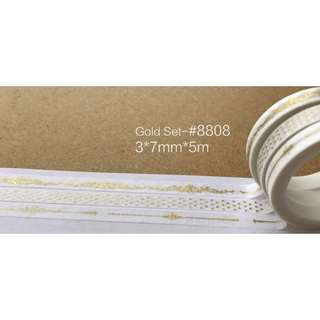 Gold Skinny Combo Pack #8808 Washi Tape 3 rolls in one pack 3x7mmx5m
