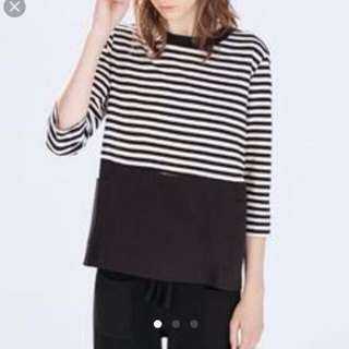 Zara Black and White Stripes Top