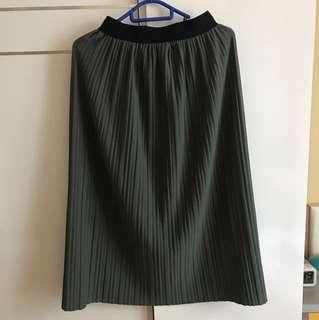 橡筋彈性灰綠八摺裙